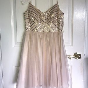 Gold Sequined Semi-Formal Dress
